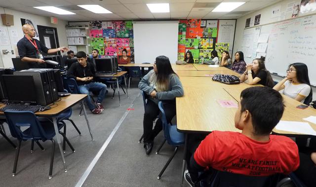 Brandon Singleton talks to students during a Jobs of America's Graduates (JAG) class at Las Vegas High School Oct. 19, 2016. Jerry Henkel/View