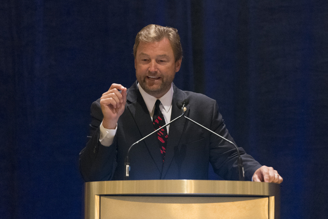U.S. Sen. Dean Heller, R-Nev., speaks to business leaders during a luncheon hosted by the Las Vegas Metro Chamber of Commerce at the Four Seasons in Las Vegas Thursday, Aug. 18, 2016. (Jason Oguln ...