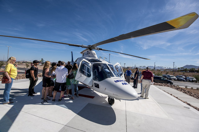 A medical helicopter is seen outside of Henderson Hospital during a public open house Oct. 22, 2016. Joshua Dahl/View