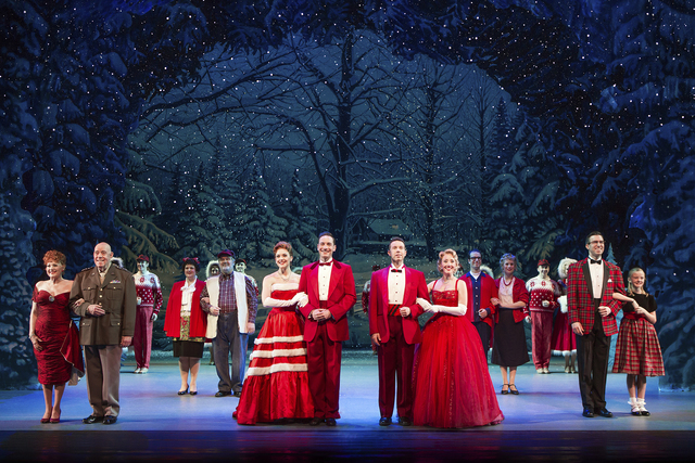 "The cast of ""White Christmas"" (led by, from left, Lorna Luft, Conrad John Schuck, Kerry Conte, Jeremy Benton and Kelly Sheehan) performs the title song. JEREMY DANIEL/COURTESY THE SMITH CENTER FOR ..."