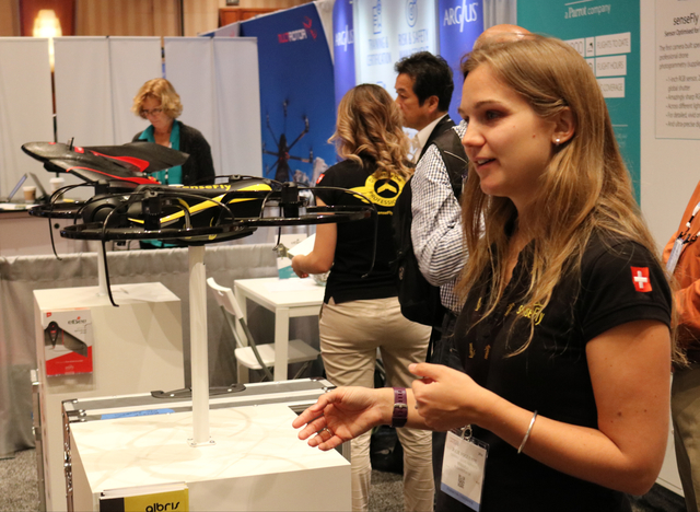 "Julie Foguenne displays the Albris drone during the Commercial UAV Expo at the MGM Grand in Las Vegas Tuesday, Nov. 1, 2016. ""It's an inspection drone, so the main application would be br ..."