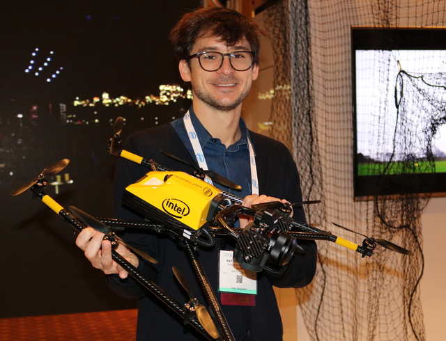Baptiste Tripard with Intel displays an Intel-designed drone made for inspections at the Commercial UAV Expo at the MGM Grand in Las Vegas Tuesday, Nov. 1, 2016. Nicole Raz/Las Vegas Review-Journa ...