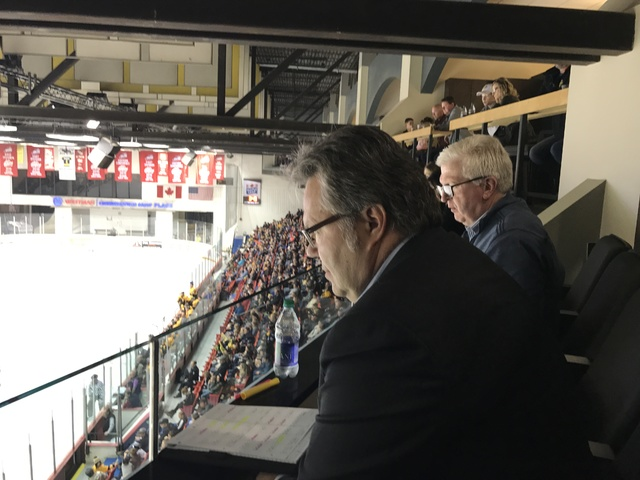Las Vegas assistant general manager Kelly McCrimmon takes notes while watching the Brandon Wheat Kings against Red Deer Nov. 11. McCrimmon owns the Wheat Kings in addition to his duties with the L ...