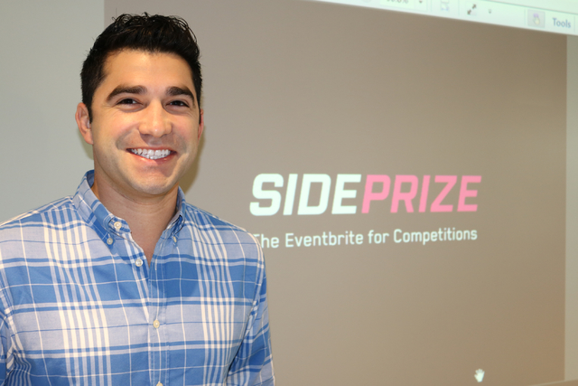 Adam Wexler, CEO of SidePrize,  prepares to pitch to investors at RedFlint Tuesday, Nov. 22, 2016. SdePrize ҩs like an Eventbrite for competitions,Ӡhe said. (Nicole Raz/Las Vegas Revie ...