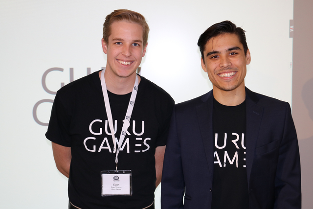 """Evan Thomas (left) and Troy Pettie, co-founders of Guru Games, said they want to bridge the gap between the """"fun, interactive apps people play on their phones every day and gambling games ..."""