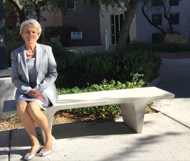 Pat Mulroy, a leading water industry expert, sits in front of the Desert Research Institute building Monday, Nov. 14, 2016. Nevada has become skillful in reconciling economic development with wate ...