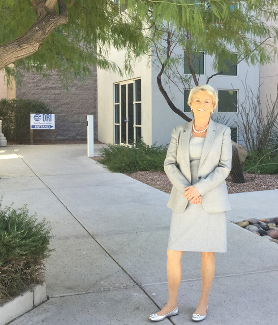 Pat Mulroy, a leading water industry expert, stands in front of the Desert Research Institute building Monday, Nov. 14, 2016. Nevada has become skillful in reconciling economic development with wa ...
