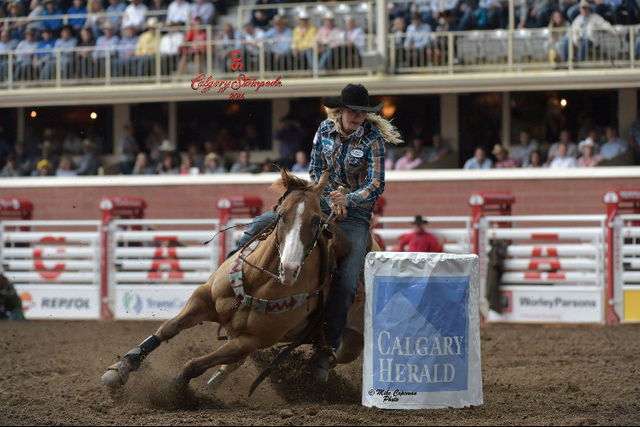 Cayla Small is seen at the Calgary Stampede barrel racing. (Kristi Small)