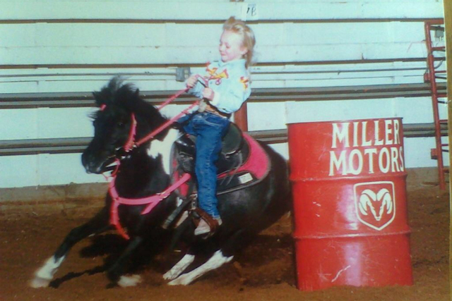 Cayla Small is seen at a young age barrel racing. (Kristi Small)