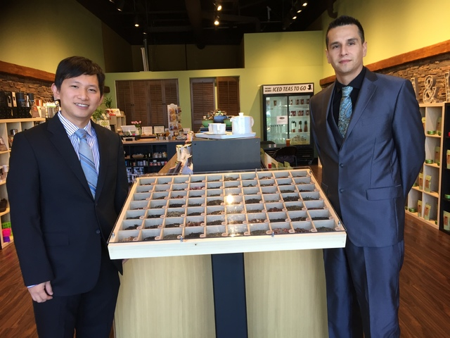 Tea & Whisk owners Leo Lukidi and Martin Ramos inside their recently opened store at 10271 S. Eastern Ave., Suite 116. Michael Lyle/View