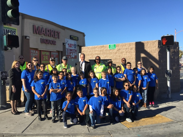 Tom Williams Elementary School are seen with North Las Vegas Mayor John Lee at the northwest corner of Pecos Road and Owens Avenue. (City of North Las Vegas)
