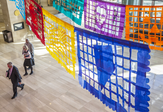 """The Mexican art of papel picado (chopped paper) inspires artist Justin Favela's """"Patrimonio,"""" on display at Las Vegas City Hall through mid-December. Benjamin Hager/Las Vegas Review-Journal"""