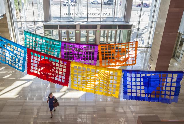 "Artist Justin Favela's ""Patrimonio"" stretches across the Las Vegas City Hall lobby. Benjamin Hager/Las Vegas Review-Journal"