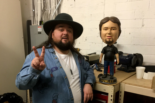 Chumlee is shown with one of his bobble heads in the storage room of Gold & Silver Pawn on Monday, Nov. 14, 2016. (John Katsilometes/Las Vegas Review-Journal)