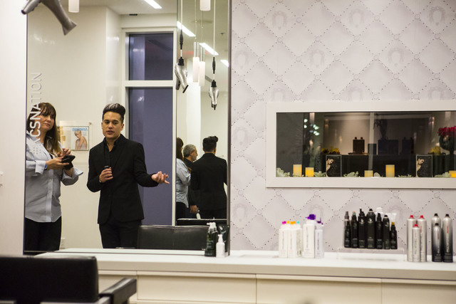 Salon Director Bobby Bosch, right, gives a tour to invited guests during the grand opening of Kelly Cardenas Salon at the Hard Rock hotel-casino in Las Vegas on Wednesday, Nov. 16, 2016. Chase Ste ...