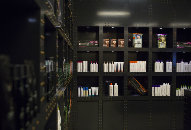 Beauty products for sale are shown during the grand opening of Kelly Cardenas Salon at the Hard Rock hotel-casino in Las Vegas on Wednesday, Nov. 16, 2016. Chase Stevens/Las Vegas Review-Journal F ...