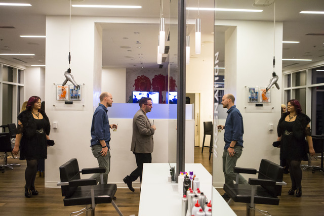 Invited guests explore Kelly Cardenas Salon during the grand opening event at the Hard Rock hotel-casino in Las Vegas on Wednesday, Nov. 16, 2016. Chase Stevens/Las Vegas Review-Journal Follow @cs ...