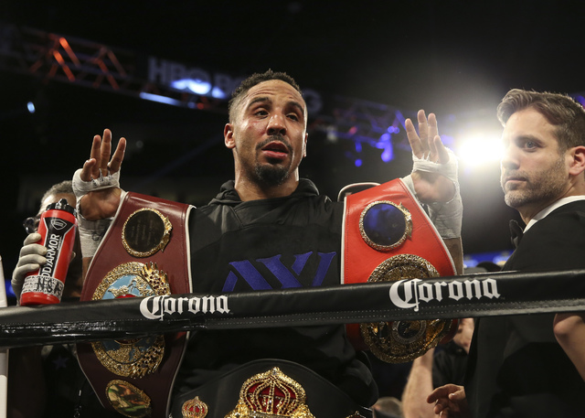 Andre Ward celebrates after defeating Sergey Kovalev in their light heavyweight title boxing match at T-Mobile Arena in Las Vegas on Saturday, Nov. 19, 2016. Ward won in a unanimous decision. Chas ...