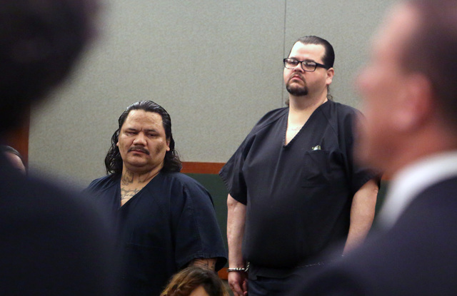 Joey Laguna, left, and David Murphy appear during their sentencing at the Regional Justice Center in Las Vegas Monday, Nov. 28, 2016. Laguna and Murphy are convicted in the 2014 robbery and slayin ...