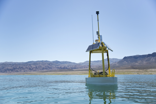 One of the new weather buoys floats in Lake Mead on Friday, May 27, 2016. The buoys transmit weather data that park attendees can check before they go out on the water. (Daniel Clark/Las Vegas Rev ...