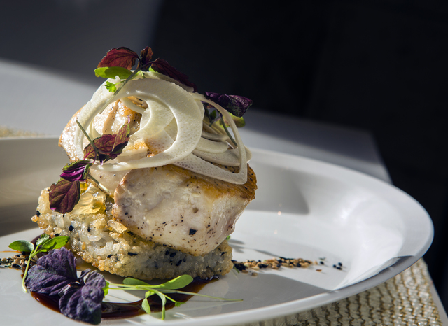 Swordfish on a rice cake and finished with Maui onions at Lakeside in Wynn Las Vegas on Friday, Nov., 11, 2016. Jeff Scheid/Las Vegas Review-Journal Follow @jeffscheid