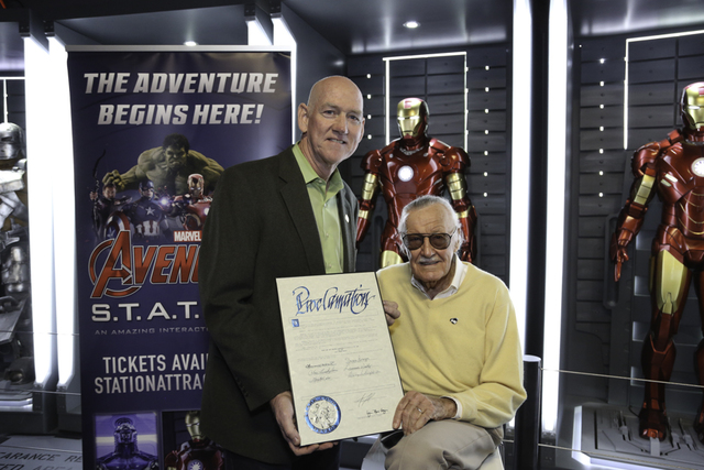 Marvel Comics founder Stan Lee is shown with Clark County Commissioner Larry Brown at Treasure Island's Marvel Avengers S.T.A.T.I.O.N. on Friday, Nov. 18, 2016. (Edison Graff photo)