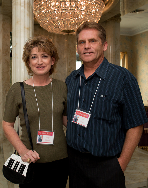 Jennifer Ohustad and Carl Koste were part of a group of Liberace Facebook fans to visit the entertainer's former Las Vegas home. (Tonya Harvey/Real Estate Millions)