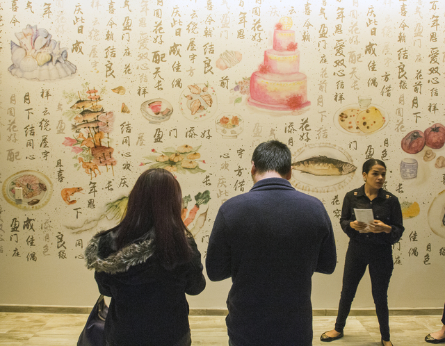 Wall art hangs in the Pearl Ocean dim sum restaurant at the Lucky Dragon hotel-casino, 300 W. Sahara Ave., on Friday, Nov. 18, 2016. Las Vegas' newest casino, which will cater to Asians, is schedu ...