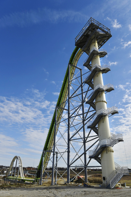 This November 2013 file photo shows Schlitterbahn Waterparks and Resorts new Verruckt waterslide in Kansas City, Kan. The waterslide on which a state lawmaker's 10-year-old son was killed Aug 7, 2 ...