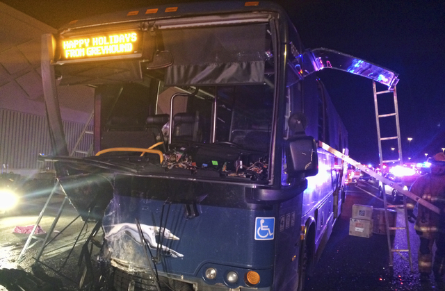 This undated photo provided by the Arizona Department of Public Safety shows the remains of a Greyhound Bus after it was hit head on by a wrong way driver on Interstate 10 in a Phoenix suburb on F ...