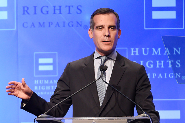 Los Angeles Mayor Eric Garcetti is pictured in this file photo. (Chris Pizzello/Invision/AP)