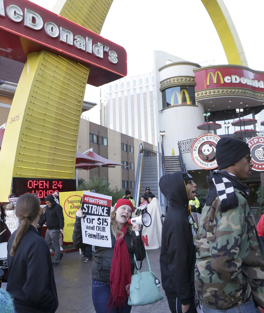 Emily Ross shouts slogans as she joined workers fighting for a higher minimum wage protest outside of a McDonald's on Las Vegas Boulevard, Tuesday, Nov. 29, 2016. Bizuayehu Tesfaye/Las Vegas Revie ...