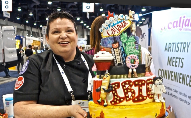 """Michelle """"Mitchie"""" Curran designed this cake for Caljava International Inc. at October's IBIE show.  The cake was themed """"Pastries Gone Wild in Las Vegas."""" The cake took 18 hours to create.  ..."""
