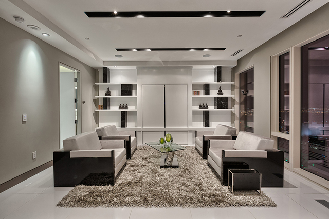 The penthouse's living room. (Courtesy of Rahimi Designs)