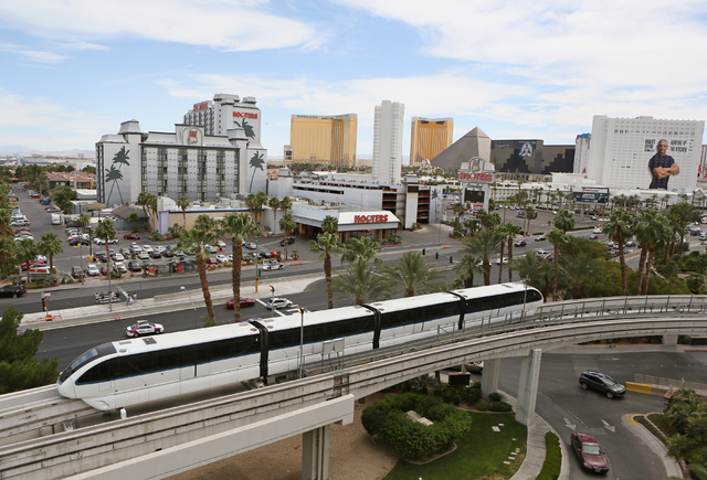The Las Vegas Monorail runs past the MGM Grand, June 2, 2016, in Las Vegas. (Ronda Churchill/Las Vegas Review-Journal)