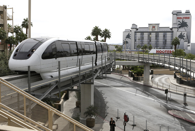 The Monorail approches MGM Station Thursday, Oct. 27, 2016, in Las Vegas. (Bizuayehu Tesfaye/Las Vegas Review-Journal Follow @bizutesfaye)