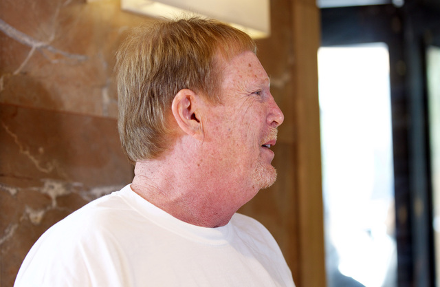 Mark Davis, the Oakland Raiders owner, discusses funding being approved for a stadium in Las Vegas during the NFL owners meeting in Houston on Oct. 19, 2016. (Heidi Fang/Las Vegas Review-Journal)