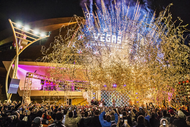 Fireworks light up the sky during a ceremony to unveil the Las Vegas' NHL expansion franchise's official team nickname, the Golden Knights, on Tuesday, Nov. 22, 2016, at Toshiba Plaza, in Las Vega ...