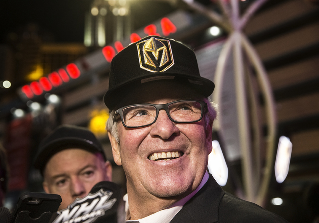 Golden Knights owner Bill Foley takes questions from the media at the conclusion of a ceremony to unveil the Las Vegas' NHL expansion franchise's official team name, logos and colors on Tuesday, N ...