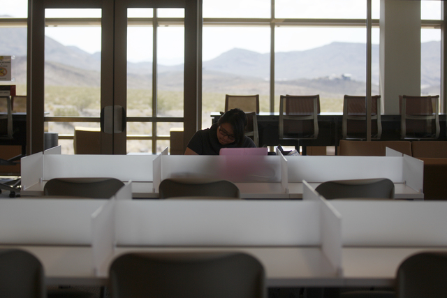 Christina Henares studies in the Marydean Martin library on Wednesday, June 29, 2016, at Nevada State College in Henderson. (Rachel Aston/Las Vegas Review-Journal) Follow @rookie__rae