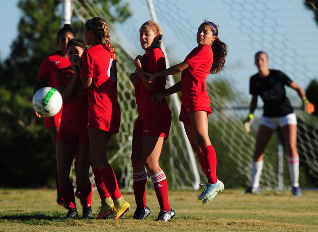 Arbor View defenders form a wall in attempt to  block a Palo Verde free kick during their prep soccer game at Palo Verde High School in Las Vegas, Wednesday, Oct. 19, 2016. Arbor View won 2-1. (Jo ...