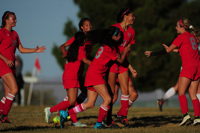 Arbor View players celebrate a goal against Palo Verde during their prep soccer game at Palo Verde High School in Las Vegas, Wednesday, Oct. 19, 2016. Arbor View won 2-1. (Josh Holmberg/Las Vegas  ...