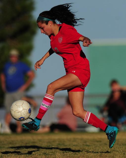Arbor View midfielder Melanie Ara forwards the ball against Palo Verde during their prep soccer game at Palo Verde High School in Las Vegas, Wednesday, Oct. 19, 2016. Arbor View won 2-1. (Josh Hol ...