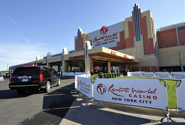 Resorts World Casino is shown on Oct. 28, 2011, the day of its official opening as New York City's first casino at the Aqueduct Racetrack. (AP Photo/Kathy Kmonicek)