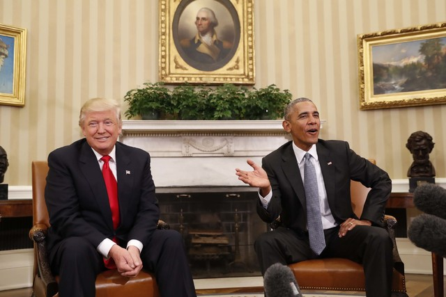 President Barack Obama meets with President-elect Donald Trump in the Oval Office of the White House in Washington, Thursday, Nov. 10, 2016. (Pablo Martinez Monsivais/AP)