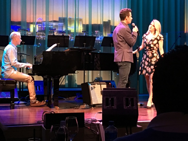 """Richard Oberacker, at piano, performs """"This is Life"""" from """"Bandstand,"""" with Graham Fenton and Nicole Kaplan handling the vocals at the Composer's Showcase of Las Vegas at Cabaret Jazz on Wednesday ..."""