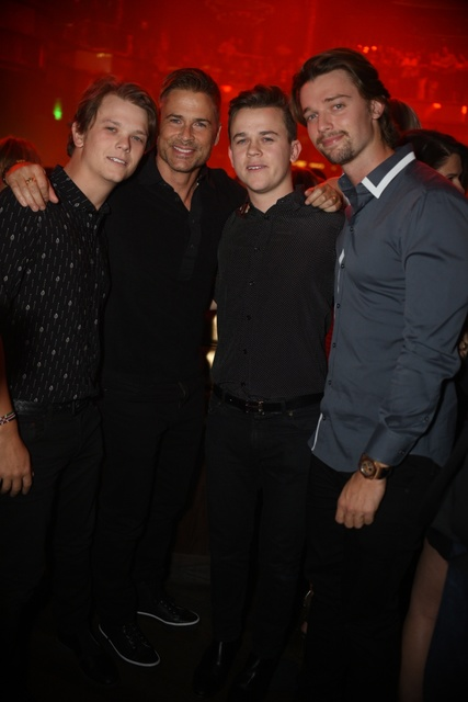 Actor Rob Lowe and son John Lowe party Friday at club Omnia with Arnold Schwarzenegger's son Patrick Schwarzenegger. It was John Lowe's 21st birthday party. (Aaron Garcia)