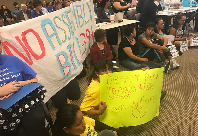 Parents at the latest State Board of Education meeting fought for their schools not to become a charter school. (Amelia Pak-Harvey/Las Vegas Review-Journal)