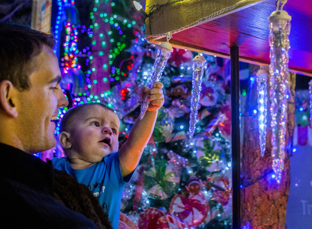 Grayson Scarlett, 9 months old, held by Beau Scarlett, grabs and icicle in the Magical Forest at Opportunity Village, Friday, Nov. 25, 2016, Las Vegas. (Elizabeth Page Brumley/Las Vegas Review-Jou ...