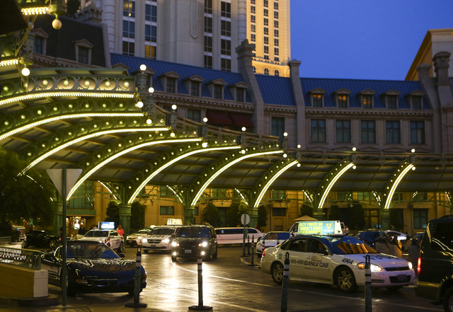 Traffic passes by the Paris hotel-casino in Las Vegas on Friday, Nov. 4, 2016. The hotel-casino experience a massive power outage on Thursday. Chase Stevens/Las Vegas Review-Journal Follow @csstev ...